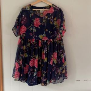 ASOS floral flowy babydoll dress navy size 4